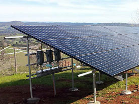 Ground mounted solar system at the Iander residence in Latrobe, CA