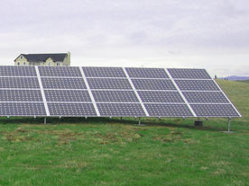 Residential ground mounted solar installation.