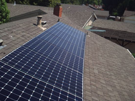 Close-up view of SunPower solar panels installed