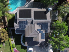 Aerial view of the John and Aleta's home with new SunPower solar panels.
