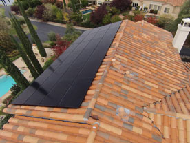 Aerial view of SunPower solar panels installed on Spanish roof tile.