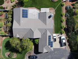 Aerial view of Burt's home with new SunPower solar panels.