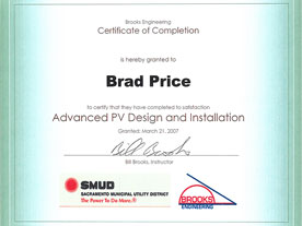 SMUD / Brooks Engineering Certificate: Advanced PV Design and Installation