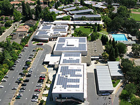 aerial view of JHS solar roof installation