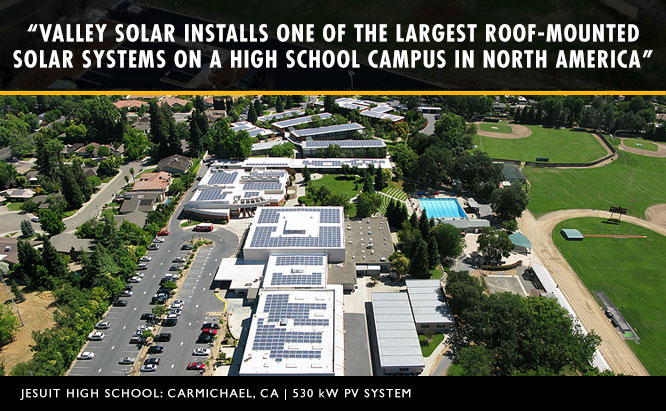 Aerial view of Valley Solar's solar system installation for Jesuit High School