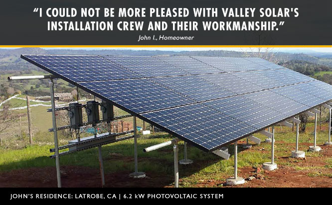 Ground mounted solar system at John's residence in Latrobe, CA